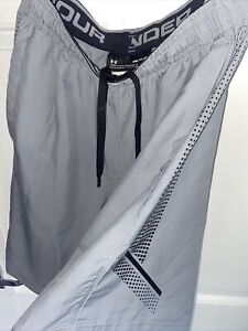 under armour grey woven graphic shorts small. Looser, shorter, Worn, Perfect.