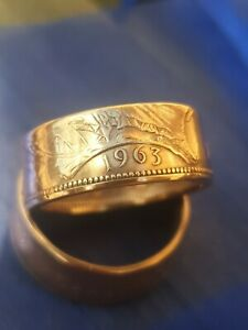 One Penny Coin Ring 1963 Size U.