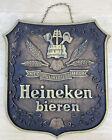 """Vintage Heineken Bieren Faux Wood Beer Hanging Sign (12"""" x 11"""" x 1"""")"""