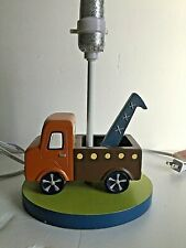 "Lambs & Ivy Wrecker Tow Truck Lamp Multi Color NightStand for Kids Room 11""T"