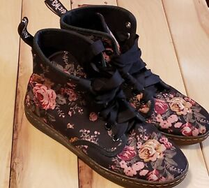 Dr Martens Canvas Shoreditch Black Floral Womens 6 Air Wair Rubber Sole