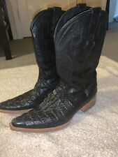 WHITE DIAMONDS crocodile print BOOTS pointed toe LEATHER cowboy rodeo western 3X