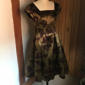 Original Vintage Late 1950s / Early 1960s Cocktail Dress Floral Rose Print