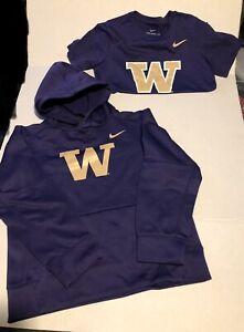 Washington Husky's Combo Lot Nike Dri Fit Hoodie & Nike Dri Fit Tee Kids Medium