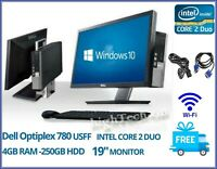 "Dell Optiplex 780 All in One USFF 19"" INTEL CORE 2 DUO 4GB RAM 500GB HDD Win 10"