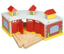 Large Engine Shed - Wooden Train set accessories - Compatible with Brio & Thomas