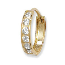 9ct Yellow Gold Gents Single Small Huggie Earring With Clear CZ