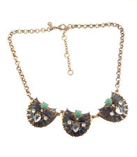 Stella and Dot Necklace Blue Crystal Pendant Gold tone