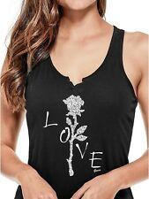 GUESS Tank Women's Bling Graphic Split Neck Racerback Tank Top Cami S Black NWT