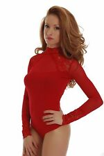 Cotton Women Bodysuit Long Sleeve Turtle mock Neck Thong Mesh Tulle lace 1473