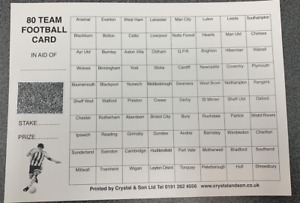 FOOTBALL SCRATCH CARDS 80 TEAMS PACK OF 10 FUNDRAISING SCRATCH CARDS
