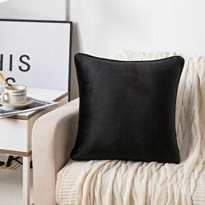 Piped Edges Luxury Plain Velvet Cushion Covers Plush 18x18, 24x24 & 30x30 INCHES
