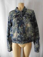 REBA MCENTIRE Denim Jacket Large blue gray floral distressed NEW