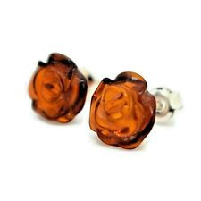 Natural Baltic Amber 925 Sterling Silver Hand -Carved Rose  Stud Earrings