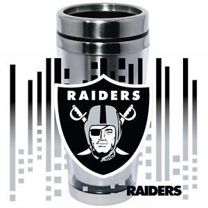 Oakland Raiders Logo Travel Mug Tumbler Stainless Steel NEW Clear Insert