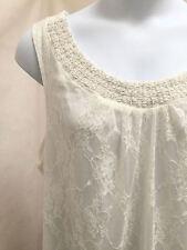 Dressbarn Plus Size 22 24 Top Ivory Lace Beaded Sleeveless Tank