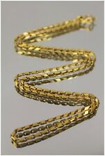 22k 2mm Fancy Box Modified Baht Style Link Necklace Yellow Gold NOT SCRAP 15.1g