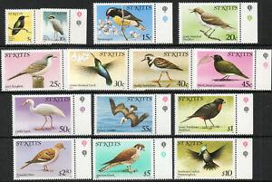 St Kitts 1981 QEII Birds set of 14 to $10  MNH