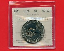 "1974 Canada 1 Dollar "" Double Yoke "" ICCS MS-62 # FB 615 Variety 2"