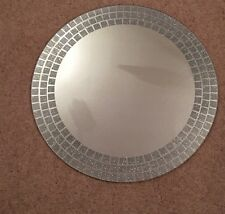 Glitter Silver Sparkle Round Mosaic Mirror 50cm Lounge Bedroom Wall Mirror