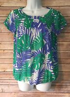 Ann Taylor Loft womens size XS Short sleeve poly semi Floral Sheer top Blouse