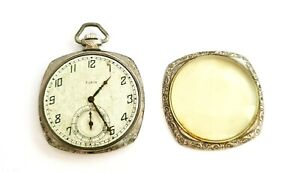 1925 US Silver Plated Open Face Gents Half Hunter Pocket Watch by Elgin (AHB)