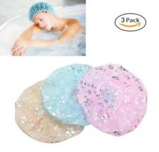 3 Pack Elastic Double Layers Shower Cap Microfiber Waterproof For Bath Spa Salon