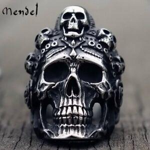 MENDEL Stainless Steel Big Mens Gothic Biker Skull Ring For Men Silver Size 8-15