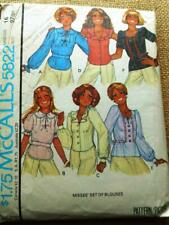"""McCalls Vintage pattern 5822 BLOUSES X 6 Styles ruffle Puff sleeve fitted 38"""" 16"""