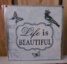 clayre & eef Letrero Metal Placa de chapa dicho texto colgante de pared Life is