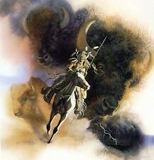"Bev Doolittle ""RUNS WITH THUNDER""-WSS Print-Camoflauge-Horse-Buffalo-Indian-Art*"