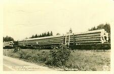 Western Washington,WA. 140 foot Fir Pilings loaded on 3 Flat Bed cars 1946 RPPC
