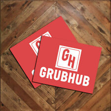 """Pair (2) of GRUBHUB Vehicle Red Magnet Signs 9""""x12"""" Food Delivery Signage"""