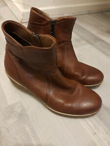 Womens ECCO Brown Leather Ankle Boot Uk 6 Eu 39