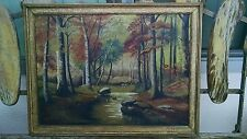 Very Old Signed Antique Oil Painting of Autumn Country Scene