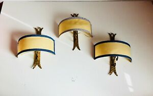 "*3* ✨12"" Antique Gilt Spanish Revival Wall Sconces Light Fixtures Raw Hide Shade"