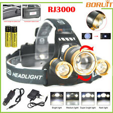BORUIT 13000 LM 3xXML L2 LED Rechargeable Headlamp Headlight Zoomable Head Torch