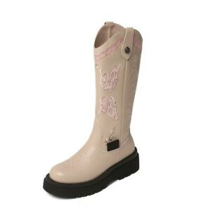 Women's Round Toe Mid-calf Boots Genuine Leather Platform Winter Pull On Shoes