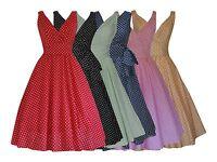 WOMENS 40's 50's RETRO VINTAGE FLARED ROCKABILLY TEA DRESS POLKA DOTS NEW 8 - 22