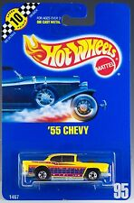 Hot Wheels No. 95 '55 Chevy Yellow BW's Speed Points Blue Card 1991 New