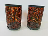 """2 glass and ornate metal Candle Holders footed black amber glass 6.5"""" high"""