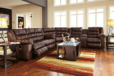 VICTORIA-3pcs Brown Bonded Leather Recliner Sofa Couch Sectional Set Living Room