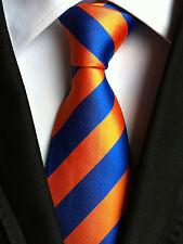 (NT053) Orange Blue Stripe Necktie Business Party Wedding Formal Tie For Man
