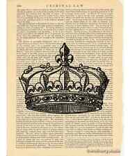 Crown 2 Art Print on Antique Book Page Vintage Illustration Tiara King Queen