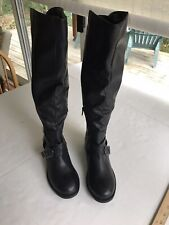 Apt. 9 Meridian Knee High Boots Black 7.5 Zip Ankle Buckle Accents Round Toe New