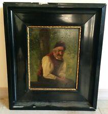 Alfons Naegele tableau huile sur panneau XIXeme-XXeme portrait école allemande