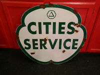 Antique style porcelain look Citi Service dealer service gas station large sign