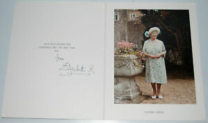 Royal Christmas Card Queen Elizabeth R Queen Mum Signed & autographed