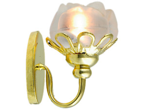 Dolls House Gold Wall Light Frosted Flower Shade Miniature Electric Lighting 12V