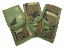 Double Mag Pouch Molle Compatible Woodland Camo 3/Pack